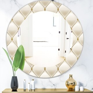 Designart 'Fancy Leather Sofa' Bohemian and Eclectic Mirror - Oval or Round Wall Mirror - Gold