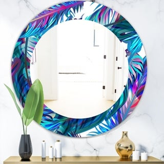 Designart 'Tropical Mood Blue 9' Bohemian and Eclectic Mirror - Oval or Round Wall Mirror