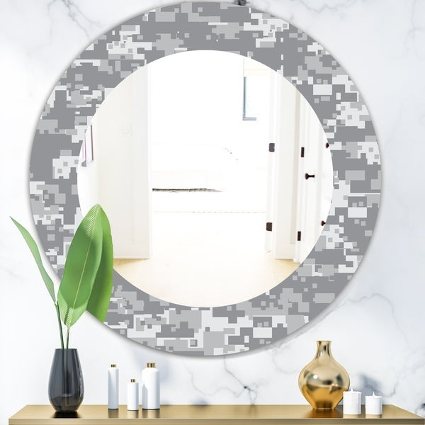Designart 'Grey Pixelation' Mid-Century Mirror - Oval or Round Wall Mirror - Grey/Silver
