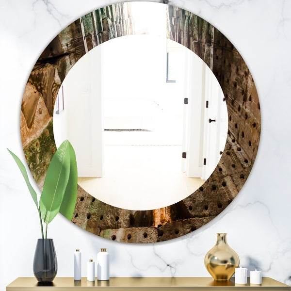 Designart 'Canyon' Modern Mirror - Oval or Round Wall Mirror - Green