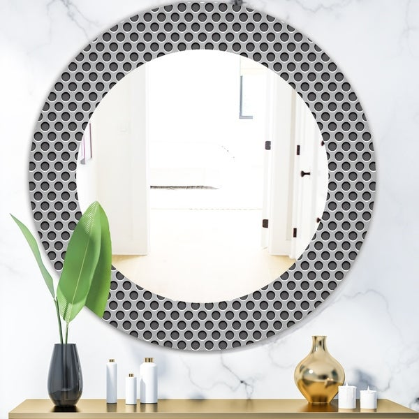 Designart 'Scandinavian 21' Modern Mirror - Oval or Round Wall Mirror - Grey/Silver