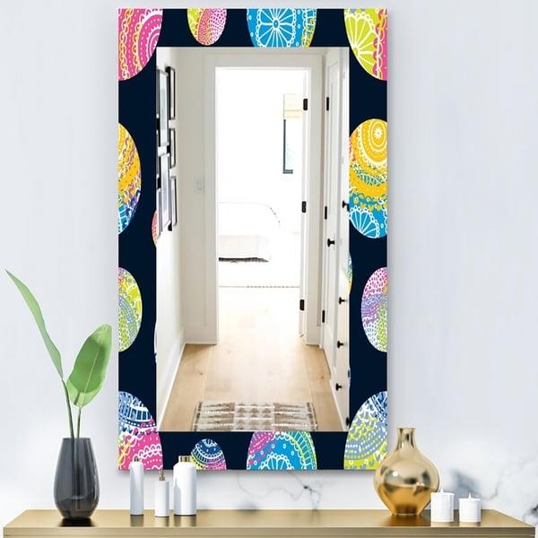 Designart 'Lace Patterned Circles' Modern Mirror - Vanity Mirror - Blue