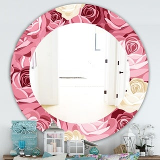 Designart 'Pink Blossom 29' Traditional Mirror - Oval or Round Wall Mirror - Pink