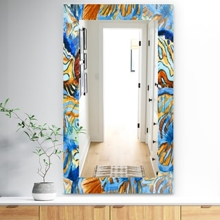 Designart 'Orange and Blue Fishes' Traditional Mirror - Wall Mirror
