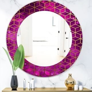 Designart 'Capital Gold Honeycomb 10' Modern Mirror - Oval or Round Wall Mirror