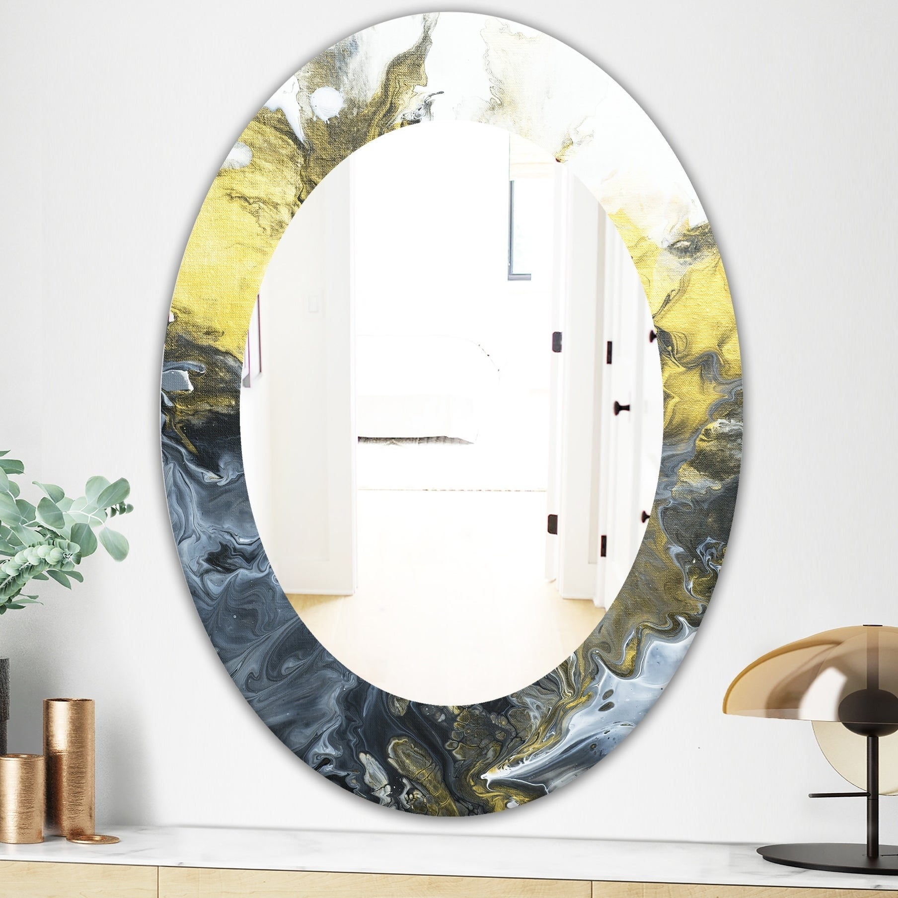 Designart Marbled Yellow 7 Mid Century Mirror Oval Or Round Wall Mirror Gold On Sale Overstock 28558938