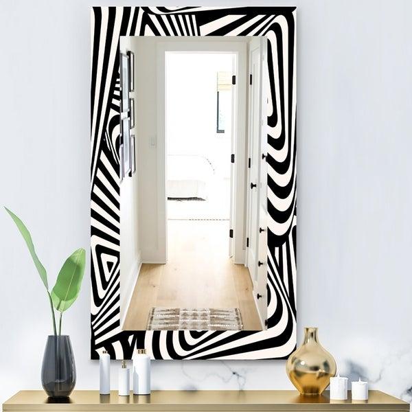 Designart 'Black & White 5' Modern Mirror - Contemporary Wall Mirror - Black