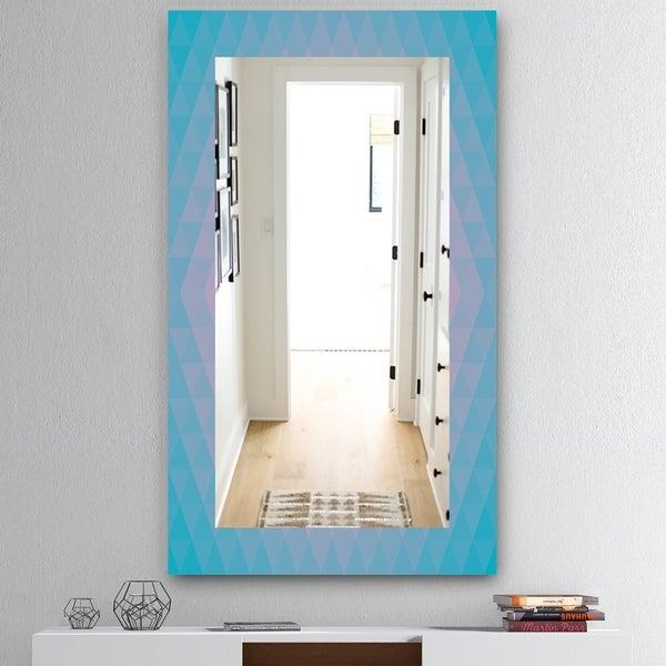 Designart 'Pastel Dreams 7' Mid-Century Mirror - Vanity Mirror - Blue