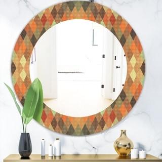Designart 'Triangular Colourfields 30' Modern Mirror - Oval or Round Wall Mirror - Red