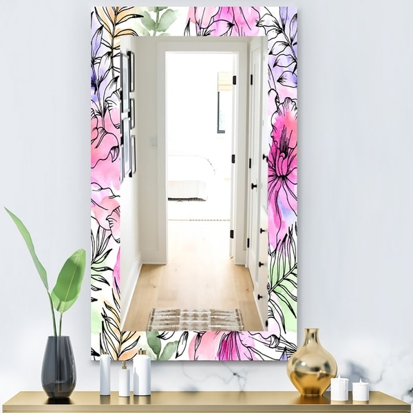 Designart 'Tropical Mood Bright 9' Bohemian and Eclectic Mirror - Vanity Mirror - Red
