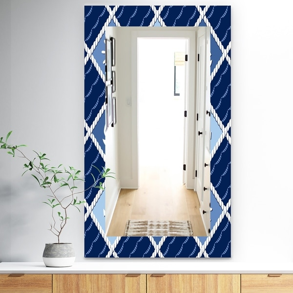 Designart 'Anchor and Sailboat On Blue Waves' Traditional Mirror - Vanity Mirror