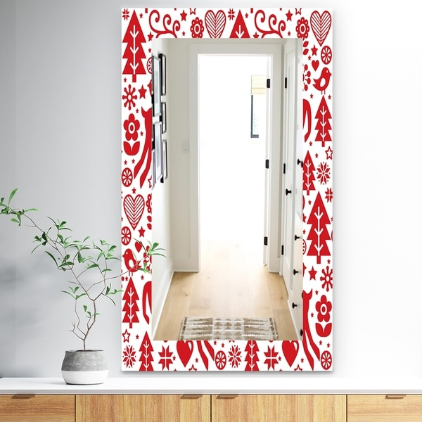 Designart 'Christmas II' Traditional Mirror - Wall Mirror - Red