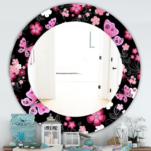 Porch & Den Dapplegrey Obsidian Black and Pink Floral and Butterfly Mirror