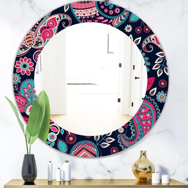 Designart 'Obsidian Bloom 18' Bohemian and Eclectic Mirror - Oval or Round Wall Mirror - Pink
