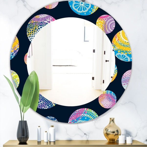Designart 'Lace Patterned Circles' Modern Mirror - Oval or Round Wall Mirror - Blue