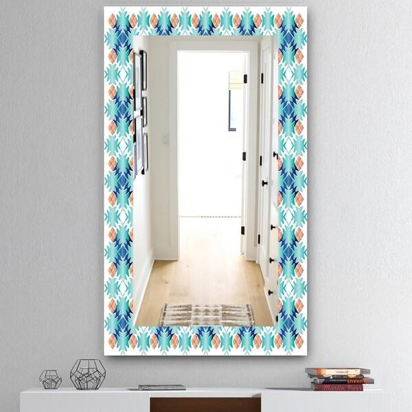 Designart 'Shades Of Blue' Mid-Century Mirror - Wall Mirror - Blue