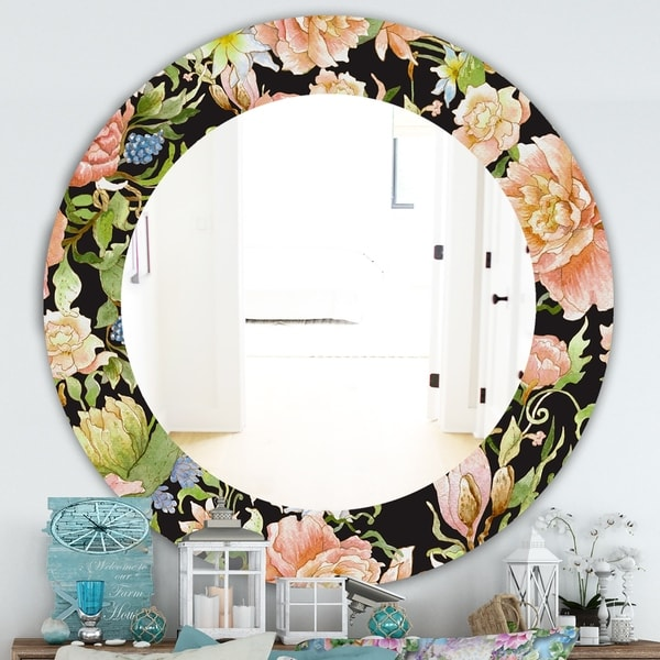 Designart 'Obsidian Bloom 24' Traditional Mirror - Oval or Round Wall Mirror - Pink