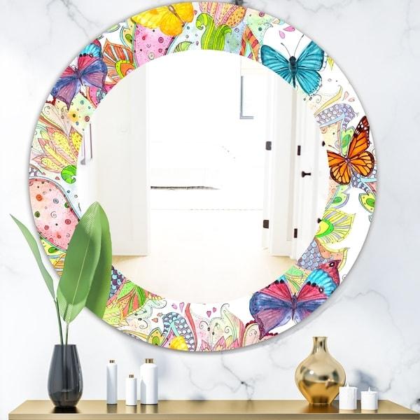 Designart 'Bohemian Butterflies' Bohemian & Eclectic Mirror - Oval or Round Wall Mirror - Blue