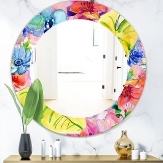 Designart 'Pink Blossom 41' Bohemian and Eclectic Mirror - Oval or Round Wall Mirror