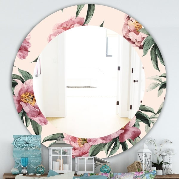 Designart 'Pink Blossom 40' Traditional Mirror - Oval or Round Wall Mirror