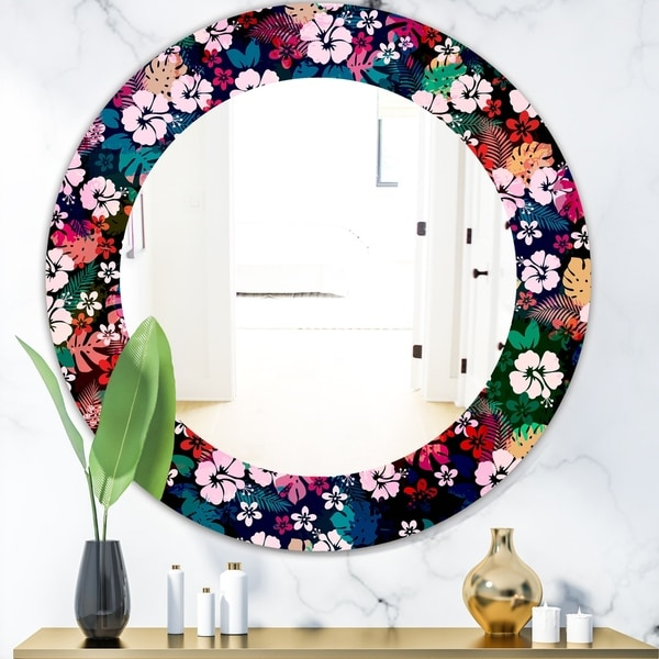 Designart 'Obsidian Bloom 26' Bohemian and Eclectic Mirror - Oval or Round Wall Mirror - Red