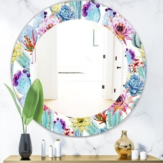 Designart 'Blossoming Cactus With Tropical Flower' Bohemian and Eclectic Mirror - Oval or Round Wall Mirror - Blue
