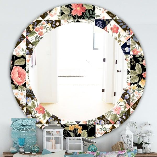 Designart 'Obsidian Bloom 22' Traditional Mirror - Oval or Round Wall Mirror - Pink