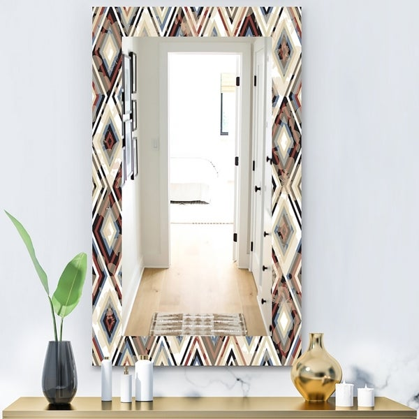 Designart 'Vintage Diamond Pattern In Blue and Brown' Bohemian and Eclectic Mirror - Modern Wall Mirror