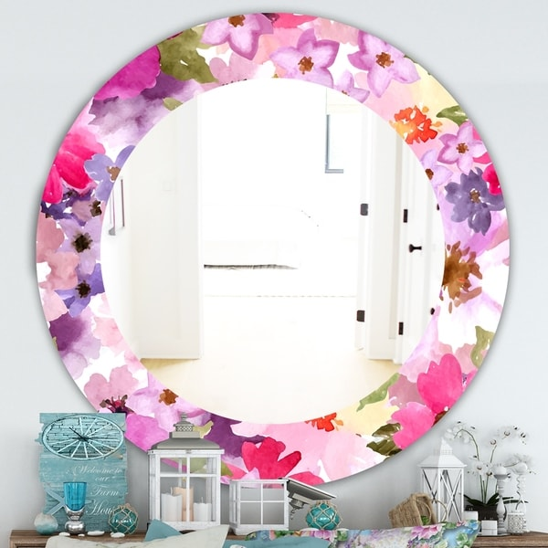 Designart 'Pink Blossom 44' Traditional Mirror - Oval or Round Wall Mirror