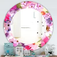 Designart 'Pink Blossom 44' Traditional Mirror - Oval or Round Wall Mirror - Pink