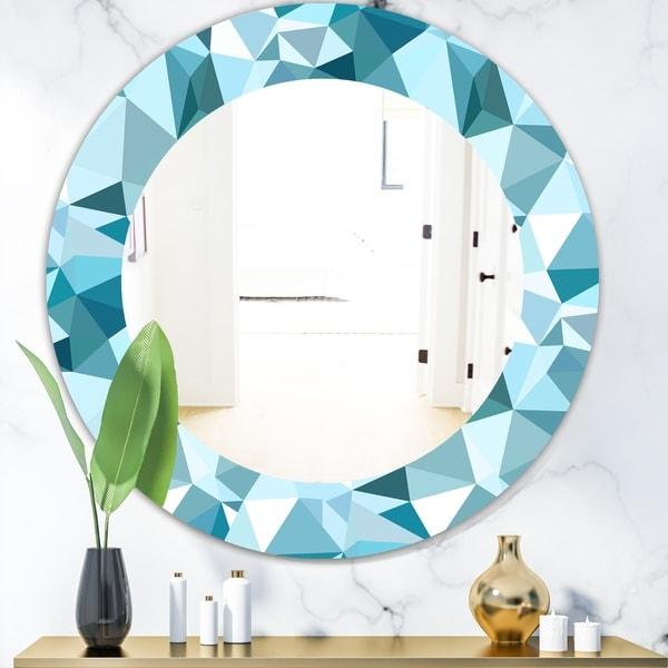 Designart 'Triangular Colourfields 33' Mid-Century Mirror - Oval or Round Wall Mirror - Blue