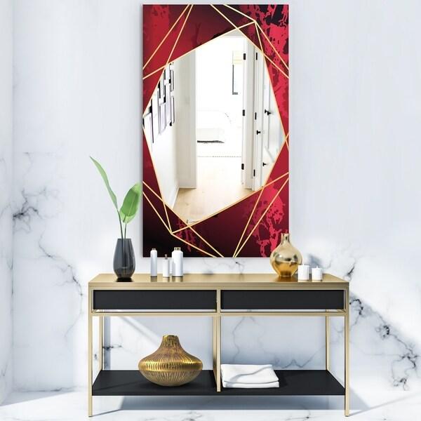 Designart 'Black and Gold Marble Geometric' Glam Mirror - Frameless Vanity Mirror - Black/Gold