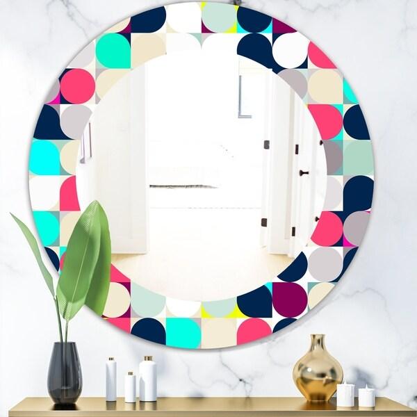 Designart 'Circular Dance 11' Bohemian & Eclectic Mirror - Oval or Round Wall Mirror - Blue