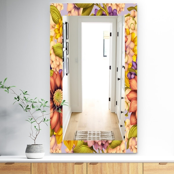 Designart 'Vintage Wild Red Pink and Purple Flowers' Traditional Mirror - Wall Mirror