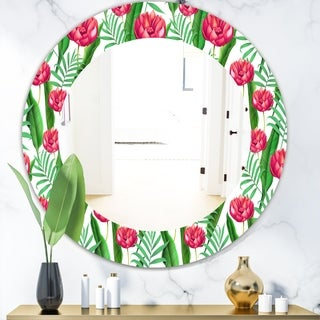 Designart 'Tropical Mood Bright 11' Bohemian and Eclectic Mirror - Oval or Round Wall Mirror - Red