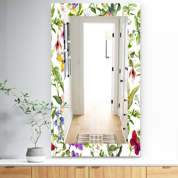 Designart 'Pink Blossom 49' Traditional Mirror - Wall Mirror - Purple