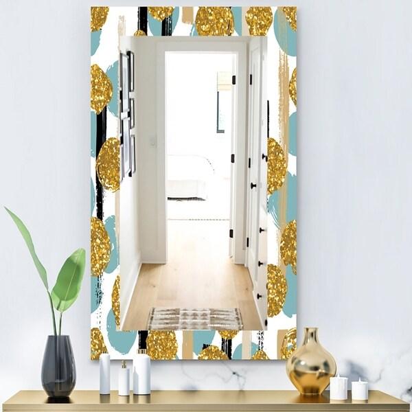 Designart 'Hand Drawn Blue and Golden Glitter Circles' Modern Mirror - Vanity Mirror - Gold