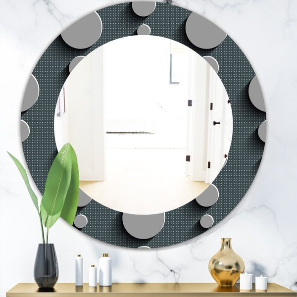 Designart 'Circles Abstract Technology' Mid-Century Mirror - Oval or Round Wall Mirror - Grey/Silver