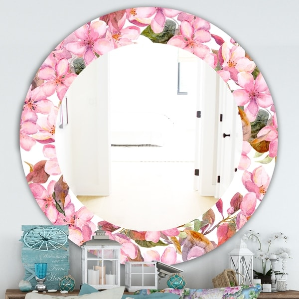 Designart 'Pink Blossom 53' Traditional Mirror - Oval or Round Wall Mirror - Pink
