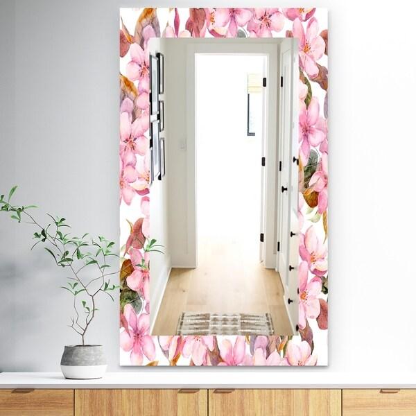 Designart 'Pink Blossom 53' Traditional Mirror - Vanity Mirror - Pink