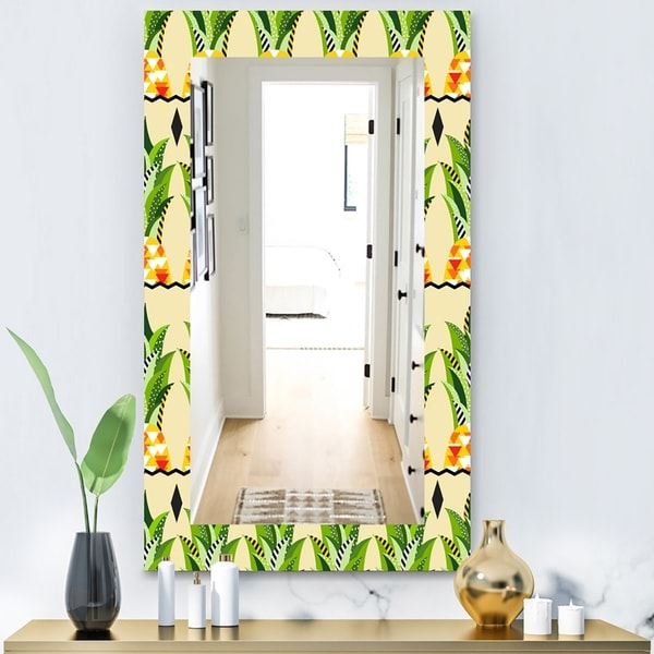 Designart 'Tropical Mood Foliage 23' Bohemian and Eclectic Mirror - Wall Mirror - Green