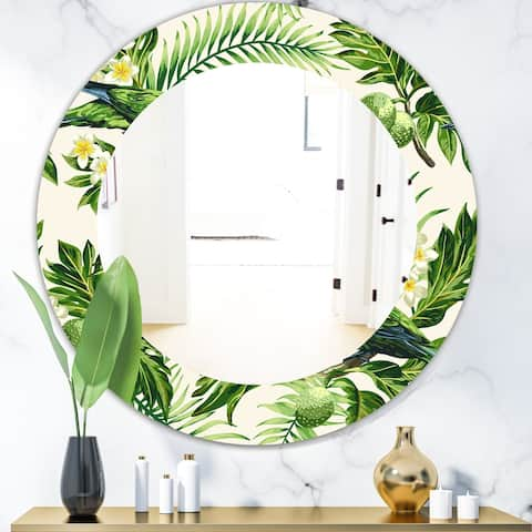 Designart 'Tropical Leaves Green' Bohemian and Eclectic Mirror - Oval or Round Wall Mirror - Gold