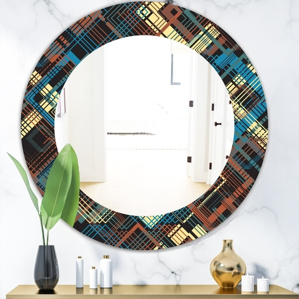 Designart 'Obsidian Impressions 9' Bohemian and Eclectic Mirror - Oval or Round Wall Mirror - Gold