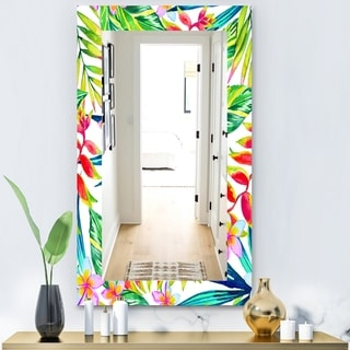Designart 'Tropical Mood Bright 12' Bohemian and Eclectic Mirror - Vanity Mirror - Red