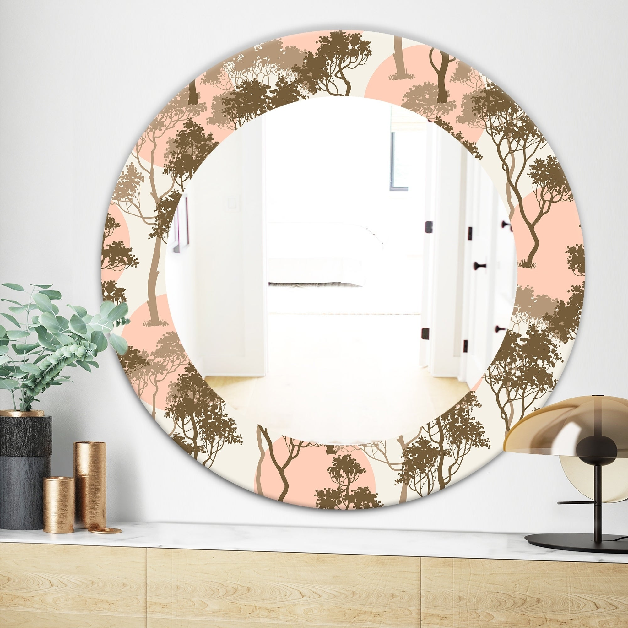 Shop Designart Trees Under The Full Moon In Forest Traditional Mirror Oval Or Round Wall Mirror Green On Sale Overstock 28559044