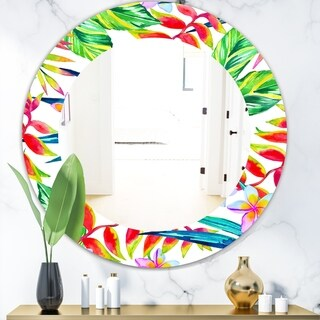 Designart 'Tropical Mood Bright 12' Bohemian and Eclectic Mirror - Oval or Round Wall Mirror - Red