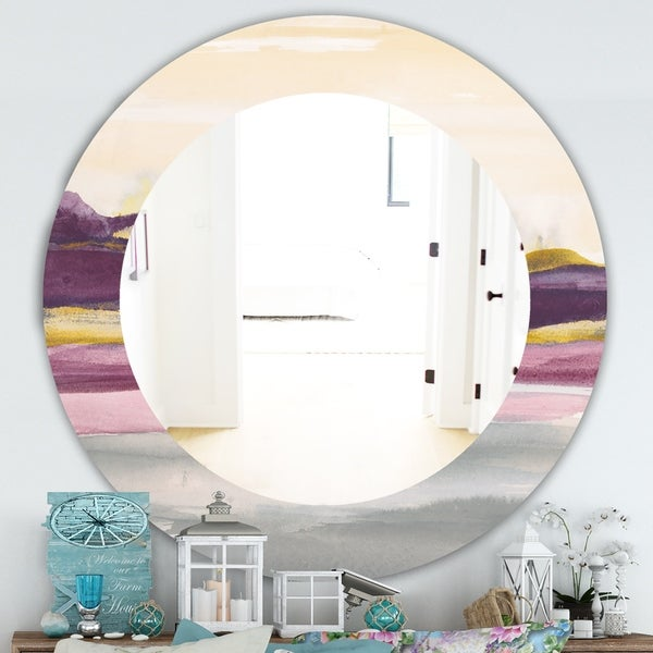 Designart 'Painted Purple and Gold Landscape II' Farmhouse Mirror - Oval or Round Wall Mirror - Multi