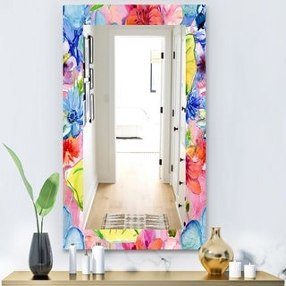 Designart 'Pink Blossom 41' Bohemian and Eclectic Mirror - Wall Mirror - Pink