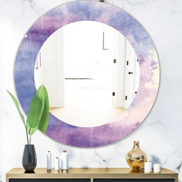 Designart 'Watercolor Purple Haze II' Modern Mirror - Oval or Round Wall Mirror