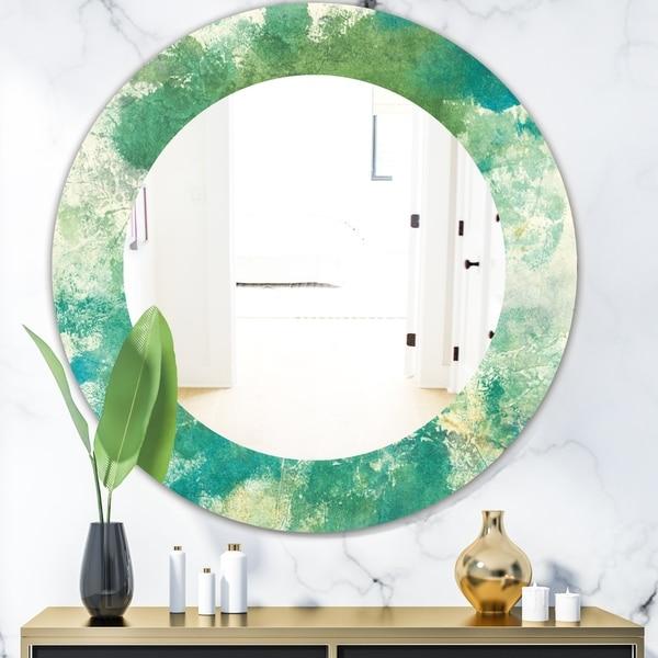 Designart 'Watercolor Rock II' Modern Mirror - Oval or Round Wall Mirror - Green